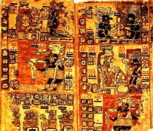 Maya-Hieroglyphen (Auszug aus dem Madrider Codex, auch Codex Tro-Cortesianus)