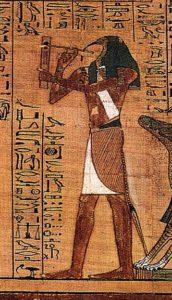 Thot als Schreiber, der notiert was Anubis diktiert