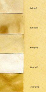 Pergamentproben von Ziege und Kalb